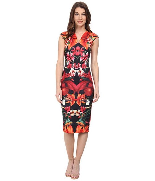 Bismii Tropical Toucan Cap Sleeve Dress by Ted Baker in Mistresses