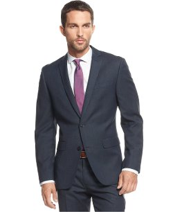Dark Blue Pindot Slim-Fit Suit by Bar III in Taken 3