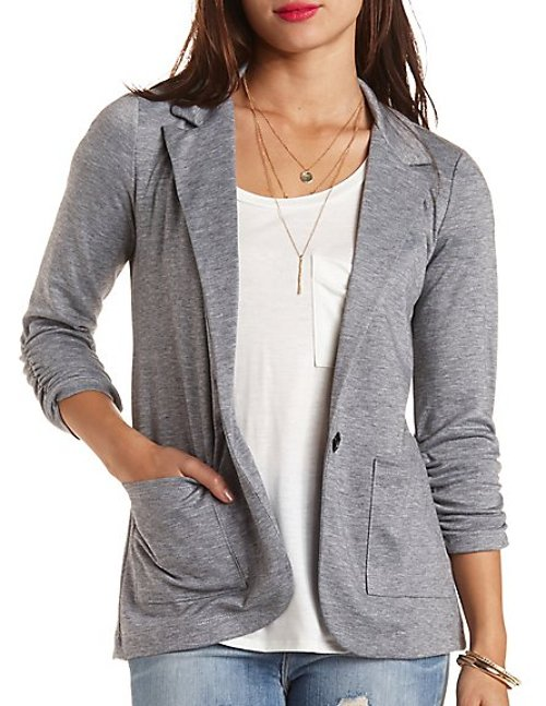 Single Button Boyfriend Blazer by Charlotte Russe in If I Stay