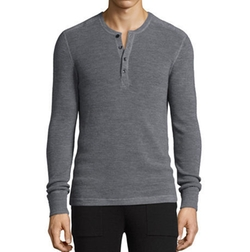 Merino Wool Waffle-Knit Henley Shirt by Michael Kors in New Girl