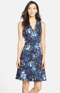Floral Print Scuba Fit & Flare Dress by Andrew Marc in Valentine's Day