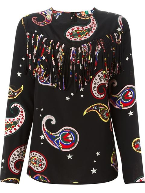 Fringed Paisley Print Blouse by MSGM in Empire