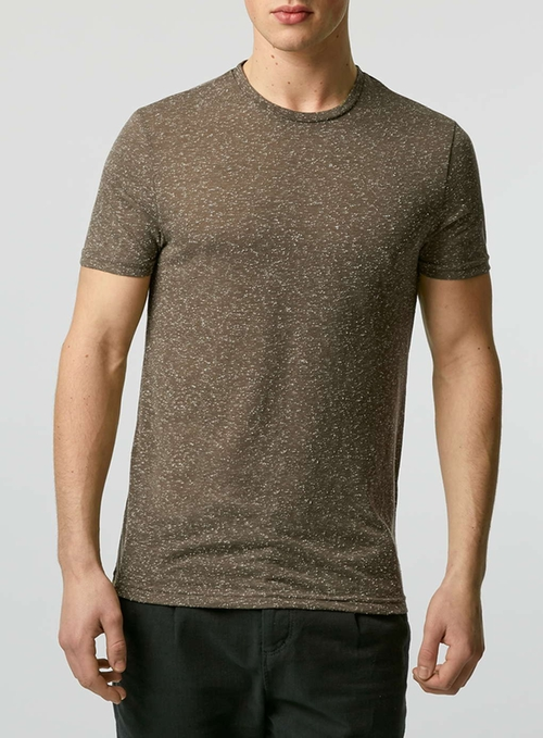 Khaki Neppy Slim Fit T-Shirt by Topman in Pretty Little Liars - Season 6 Episode 15