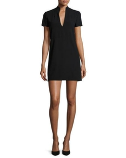 Barry Short-Sleeve V-Neck Mini Dress by Alice + Olivia in Billions