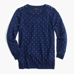 Blue Polka-Dot Tippi Sweater With Shoulder Buttons by J.Crew in Neighbors 2: Sorority Rising