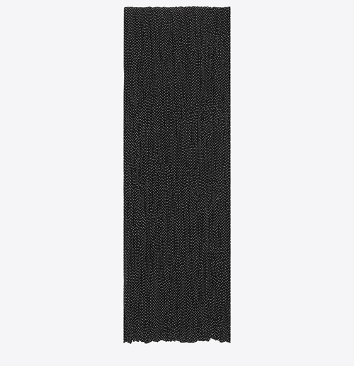 Signature Pleated Scarf Micro Dot Printed Silk Crepe by Saint Laurent in Empire - Season 3 Season 3 Preview