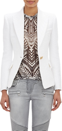 Folkloric Jacquard Double-Breasted Jacket by Balmain in Suits