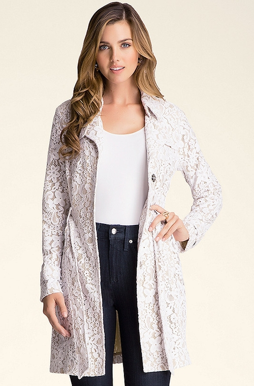 Lace Trench Coat by Bebe in Arrow
