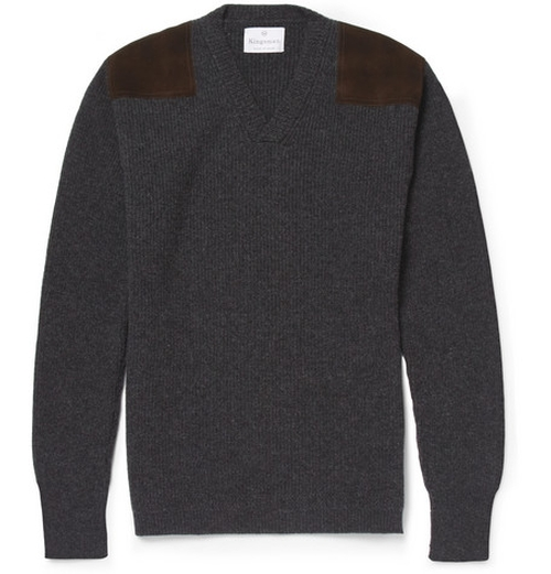 Geelong Wool Military Sweater With Suede Shoulder Patches by Kingsman for Mr. Porter in Kingsman: The Secret Service