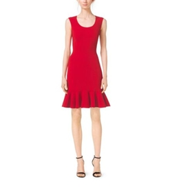 Scoopneck Wool-Crepe Flounce Sheath Dress by Michael Kors Collection in Scandal