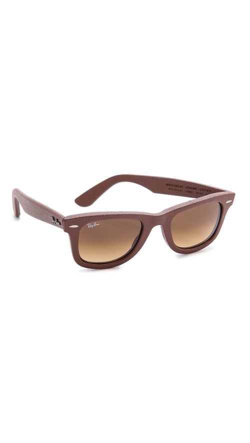 Leather Wrapped Wayfarer Sunglasses by Ray-Ban in Black or White