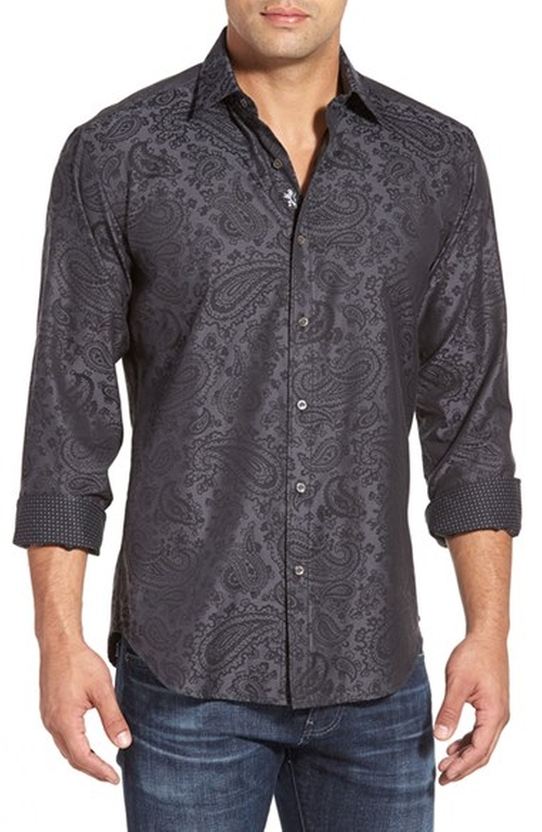 Shaped Fit Paisley Sport Shirt by Bugatchi in Mamma Mia!