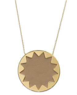 Gold-Tone Khaki Leather Sunburst Pendant Necklace by House of Harlow in While We're Young