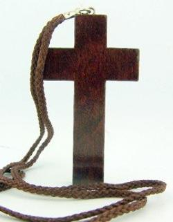 Christian Jewelry Dark Wood Latin Cross Pectoral Pendant with Rope Chain Necklace by Religious Gifts in Pain & Gain