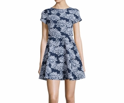 Short-Sleeve Floral-Print Party Dress by Shoshanna in The Great Indoors