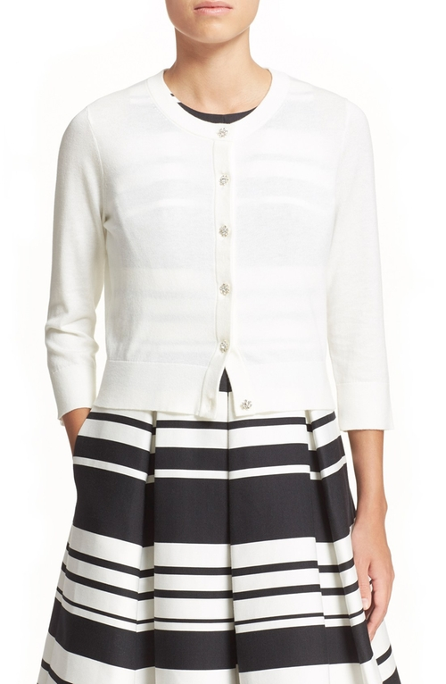 Crop Jewel Button Cardigan by Kate Spade New York  in Crazy, Stupid, Love.