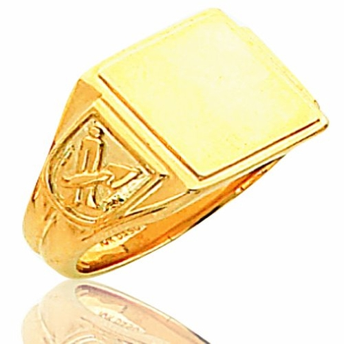 Exchange Men's 14K Yellow Gold Solid Back Masonic Ring by The Masonic in Prisoners