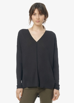 Ladder Stitch Long-Sleeve Drape V-Neck T-Shirt by Vince in Ricki and the Flash