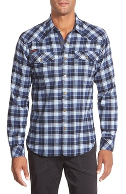 'Off Trail' Regular Fit Flannel Sport Shirt by Gramicci in Cabin in the Woods