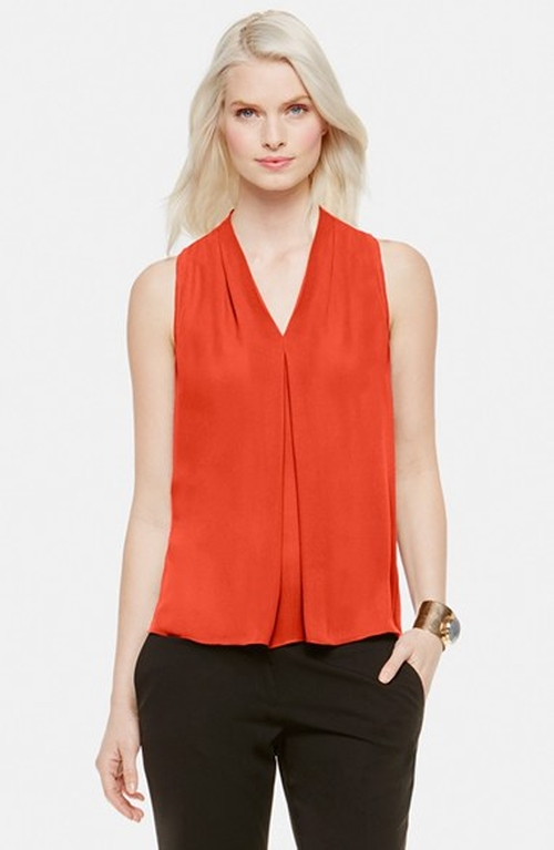 Sleeveless Pleated V-Neck Blouse by Vince Camuto in My All American