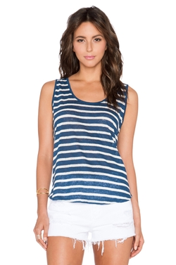 Caddy Linen Stripe Tank Top by Velvet By Graham & Spencer in The Big Bang Theory