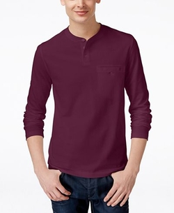 Men's Piqué Long-Sleeve Pocket Henley Shirt by Alfani in Silicon Valley