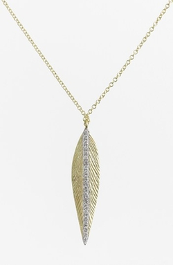 'Charmed' Diamond Brushed Leaf Pendant Necklace by MeiraT in Suits