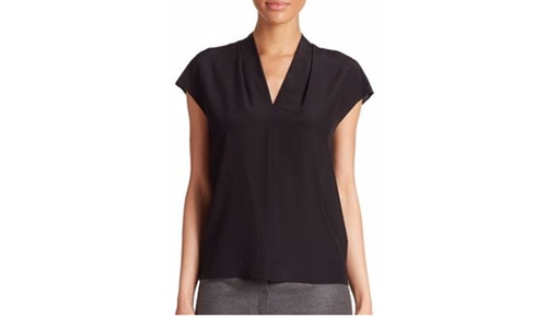 Silk V-Neck Blouse by Escada in Rosewood