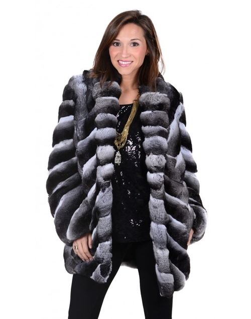 Chevron Chinchilla Fur Jacket by Henig Furs in Keeping Up With The Kardashians - Season 12 Episode 7