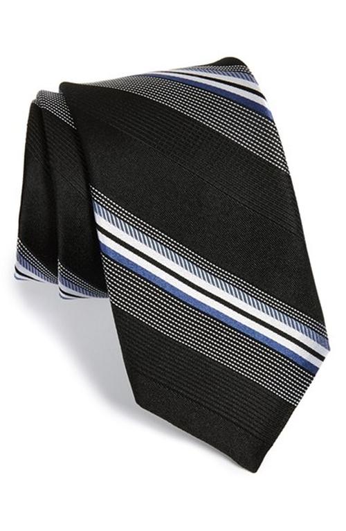 'Dudley' Stripe Silk Tie by Michael Kors in Black Mass
