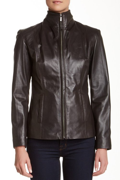 Leather Stand-Up Collar Moto Zip Jacket by Cole Haan in Avengers: Age of Ultron