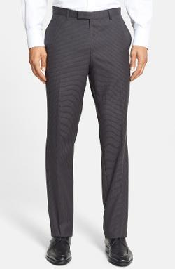 'Sharp' Flat Front Check Wool Trousers by Hugo Boss in The Other Woman