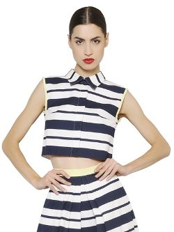 Striped Cotton Piqué Crop Top by Daniele Carlotta in Begin Again