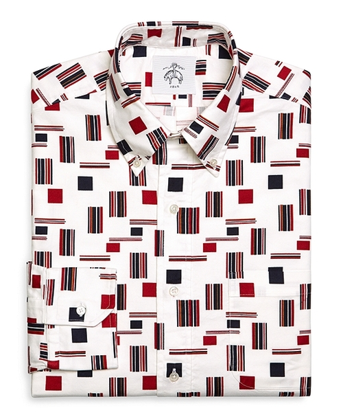 Flag Print Oxford Button-Down Shirt by Brooks Brothers in Straight Outta Compton