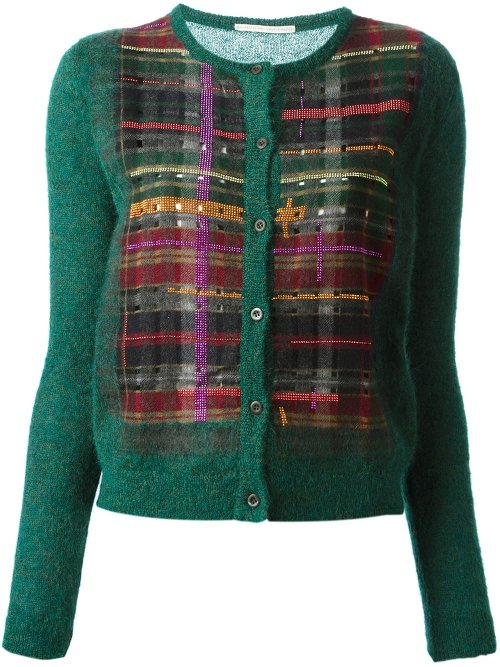 Check Print Embellished Cardigan by Marco De Vincenzo in The DUFF