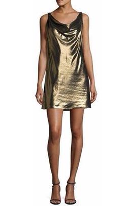 Morton Lamé Cowl Slip Dress by Haute Hippie in Baywatch