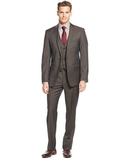 Sharskin Vested Slim-Fit Suit by Calvin Klein in Birdman