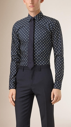 Slim Fit Polka Dot Cotton Shirt by Burberry in Jessica Jones