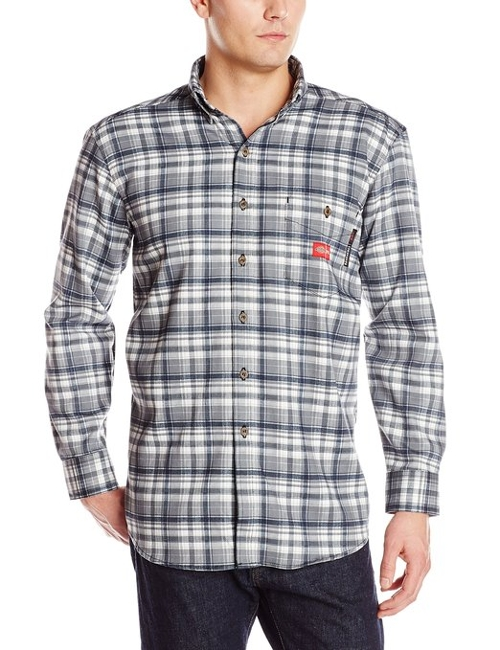 Men's Flame-Resistant Long Sleeve Plaid Shirt by Dickies in Paper Towns
