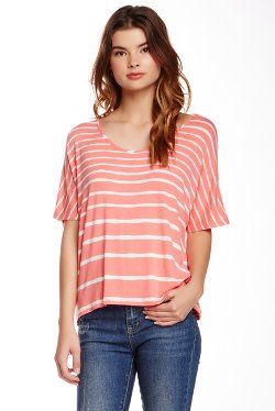Scoop Neck Striped Tee by Three Dots in Begin Again