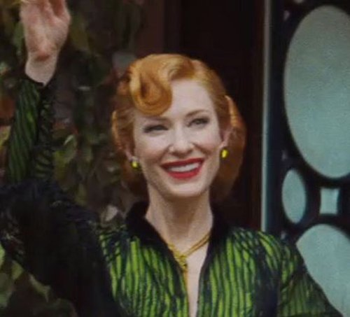 Custom Made Emerald Stone Earrings (Lady Tremaine) by Sandy Powell (Costume Designer) in Cinderella