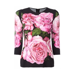 Rose Print Top by Dolce & Gabbana in Will & Grace