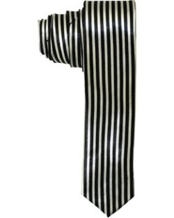 Black and White Vertical Stripes Tie by Buckle City in Kick-Ass