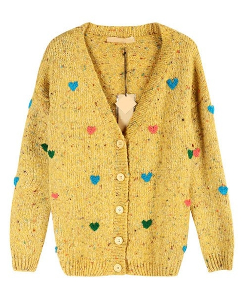 Yellow Cardigan with Embroidered by Chicnova in Paddington