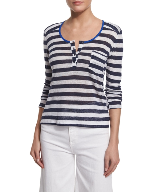 Nautical Striped Linen Henley Top by FRAME  in How To Get Away With Murder - Season 3 Episode 5