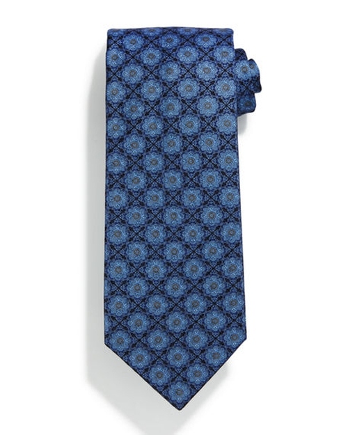 Square Medallion-Print Silk Tie by Stefano Ricci in Suits - Season 6 Episode 5