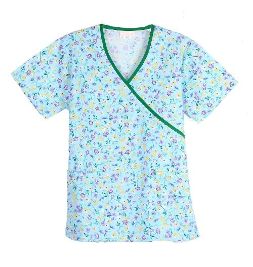 Women's Printed 2 Pockets Medical Scrub Top by G Med in St. Vincent