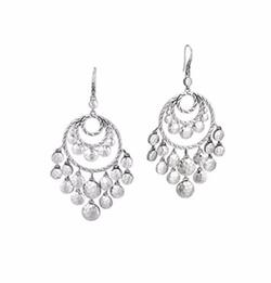 Palu Silver Disc Chandelier Earrings by John Hardy in Empire