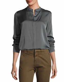 Long-Sleeve Stretch Silk Blouse by Vince in Friends From College