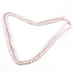 Pink Woman Grass Pearl Decor Round Beads Sweater Necklace by Rosallini in No Strings Attached